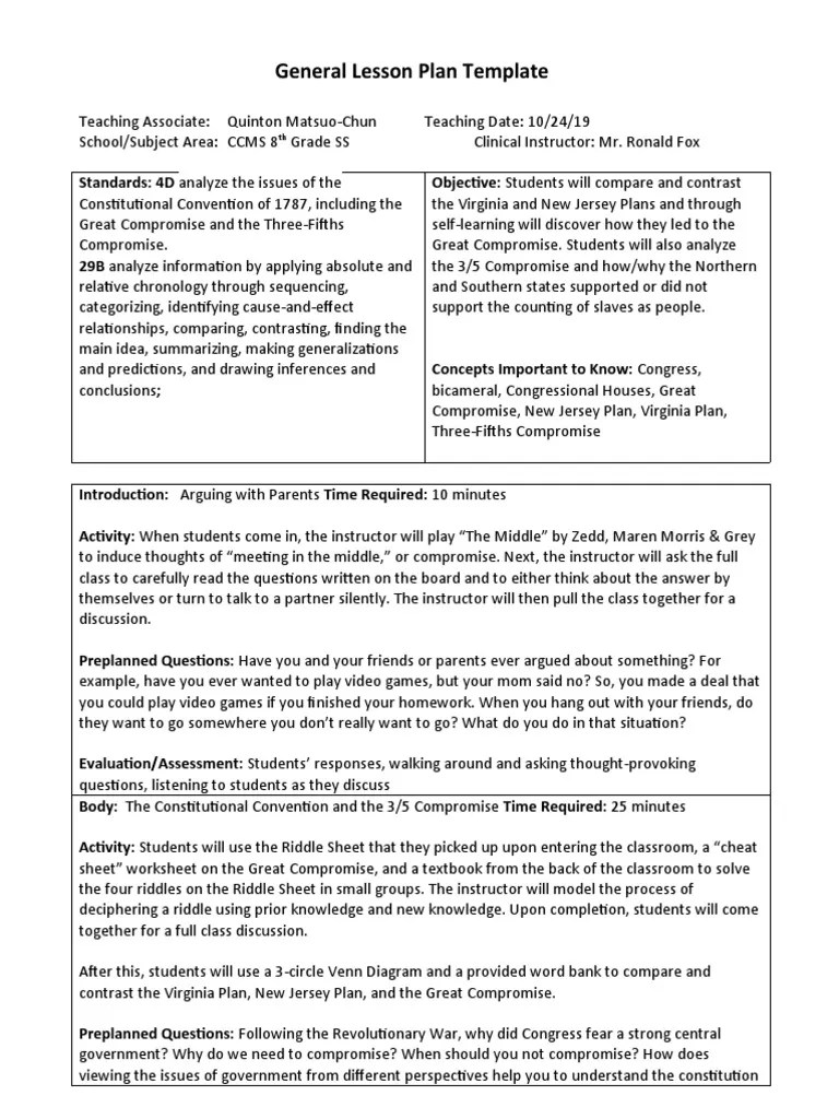 medium resolution of General Lesson Plan Template   Psychological Concepts   Psychology