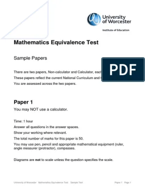 Show The Horizontal And Vertical Rulers In The Current Document : horizontal, vertical, rulers, current, document, Mathematics-Equivalence-Test-Sample-1.pdf, Geometry, Teaching, Mathematics