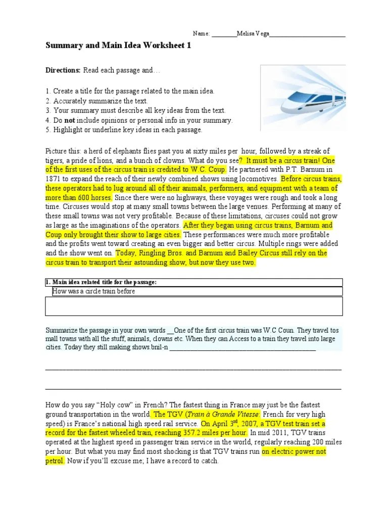small resolution of Summary and Main Idea Worksheet 1: Directions: Read each passage and…    Circus   Train