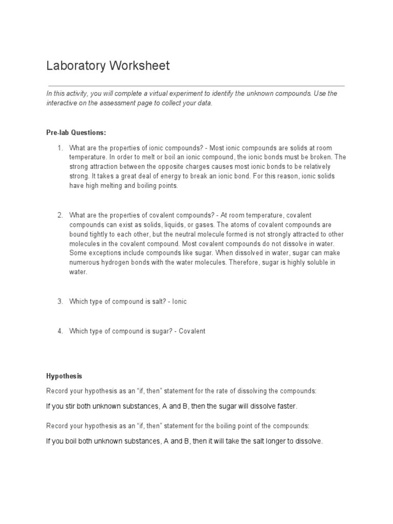 medium resolution of 5.2 Laboratory Worksheet   Chemical Compounds   Chemical Bond
