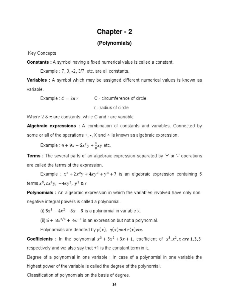 small resolution of Chapter - 2: (Polynomials)   Polynomial   Factorization