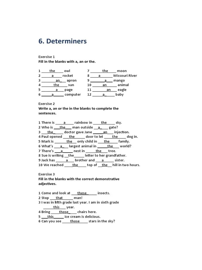 small resolution of 6. Determiners: Fill in the blanks with a