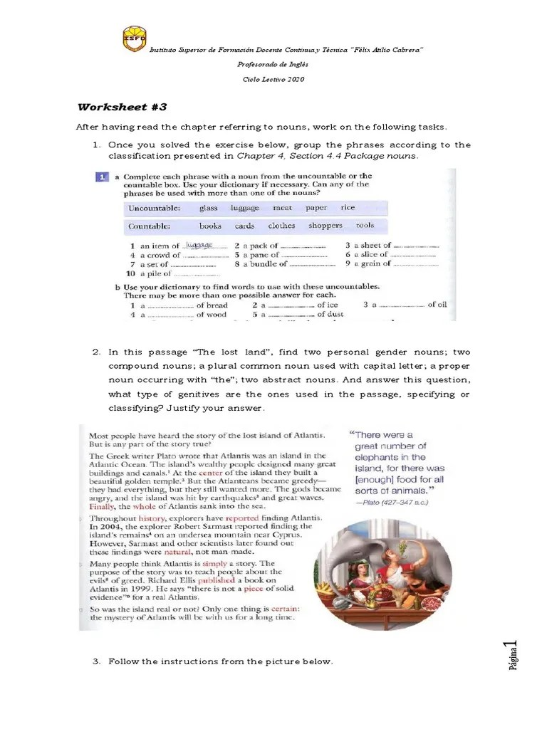 Worksheet-Virtual Lesson 3   Noun   Scientific Classification [ 1024 x 768 Pixel ]