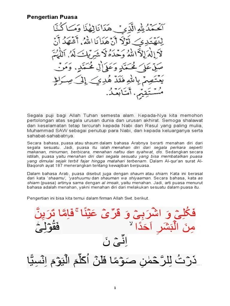 Puasa Dalam Bahasa Arab : puasa, dalam, bahasa, PENGERTIAN, PUASA
