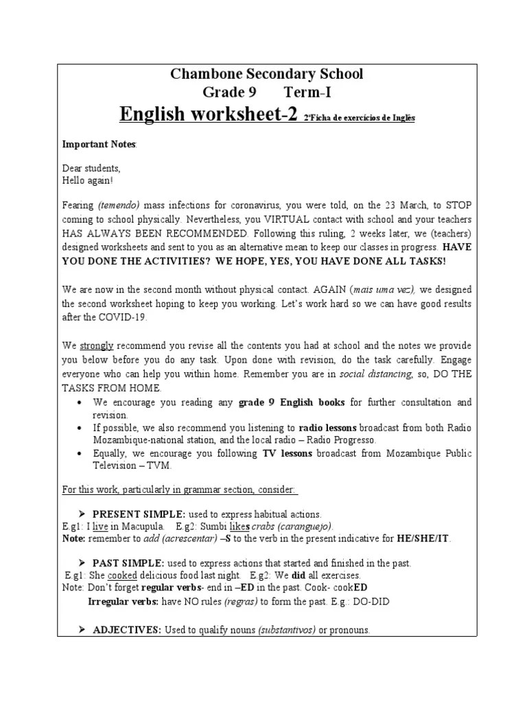 English worksheet-2: Chambone Secondary School Grade 9 Term-I   Adjective    Noun [ 1024 x 768 Pixel ]