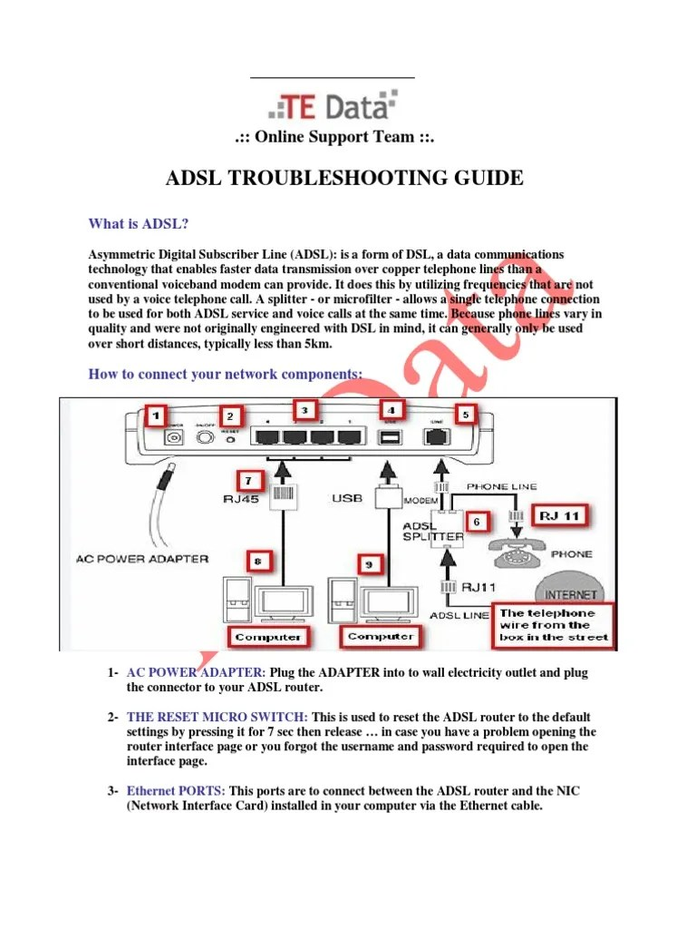 adsl troubleshooting guide electrical connector digital subscriber line [ 768 x 1024 Pixel ]