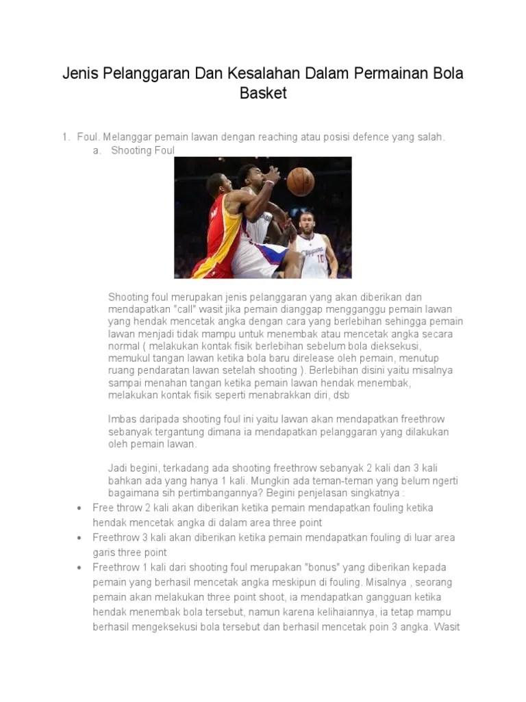 Kesalahan Kesalahan Dalam Permainan Bola Basket : kesalahan, dalam, permainan, basket, Jenis, Pelanggaran, Kesalahan, Dalam, Permainan, Basket