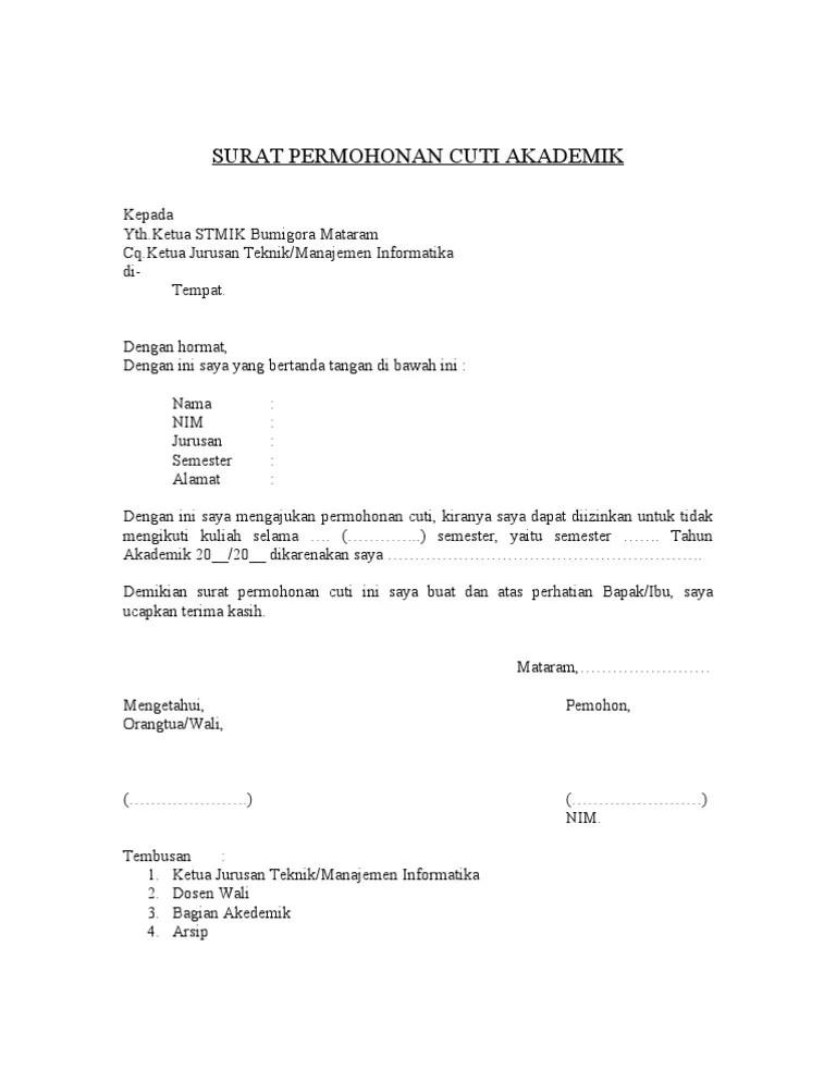 Contoh Surat Cuti Kuliah : contoh, surat, kuliah, Contoh, Surat, Minta