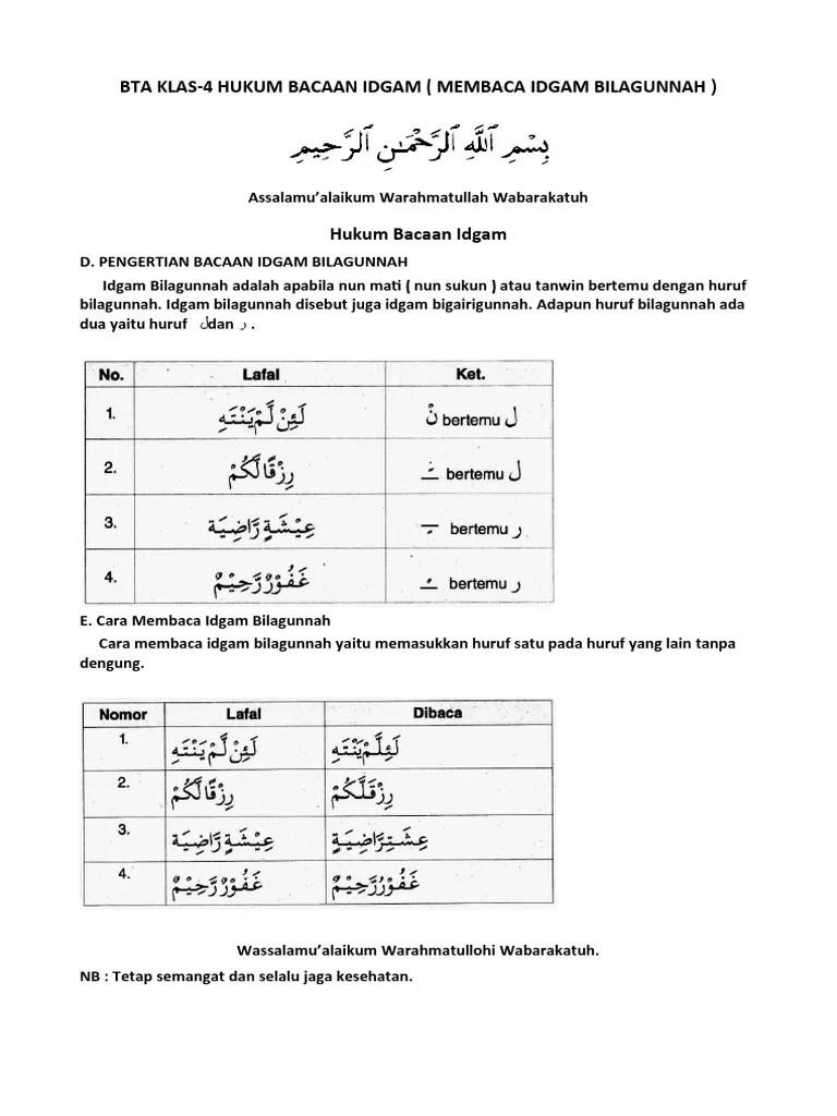 Hukum Bacaan Idgam Bilagunnah : hukum, bacaan, idgam, bilagunnah, Klas-4, Hukum, Bacaan, Idgam, Bilagunnah