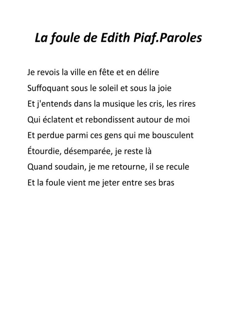 La Foule Edith Piaf Paroles : foule, edith, paroles, Foule, Edith, Piaf.docx