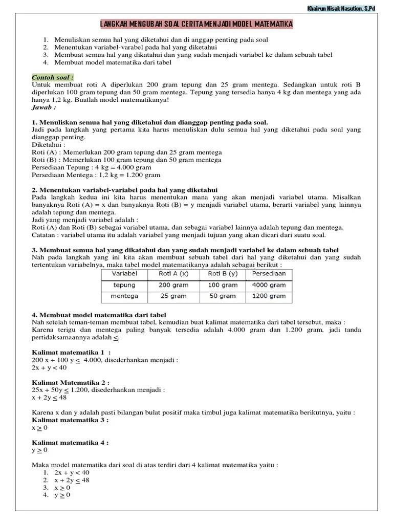 Contoh Soal Model Matematika : contoh, model, matematika, Langkah, Mengubah, Cerita, Menjadi, Model, Matematika