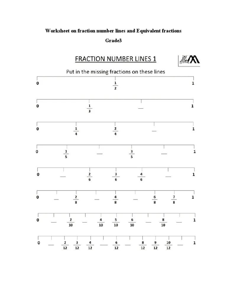 fractions on number line and equivalent fractions WORKSHEET GRADE3 [ 1024 x 768 Pixel ]