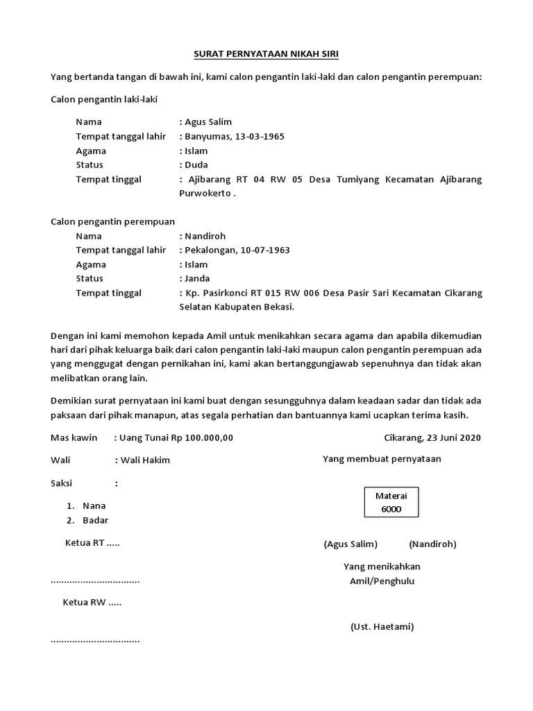 Surat Pernyataan Nikah Siri : surat, pernyataan, nikah, SURAT, PERNYATAAN, NIKAH, Salim, Nandiroh.pdf