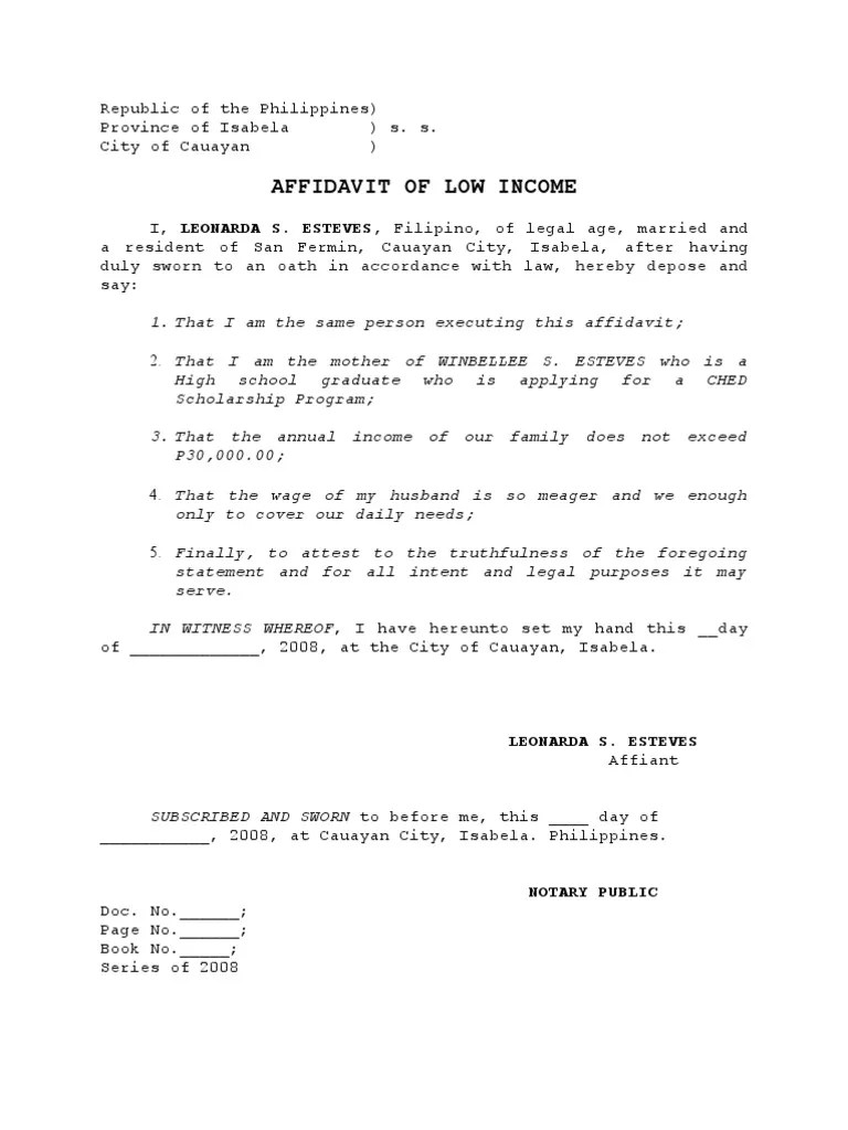 low income  Affidavit