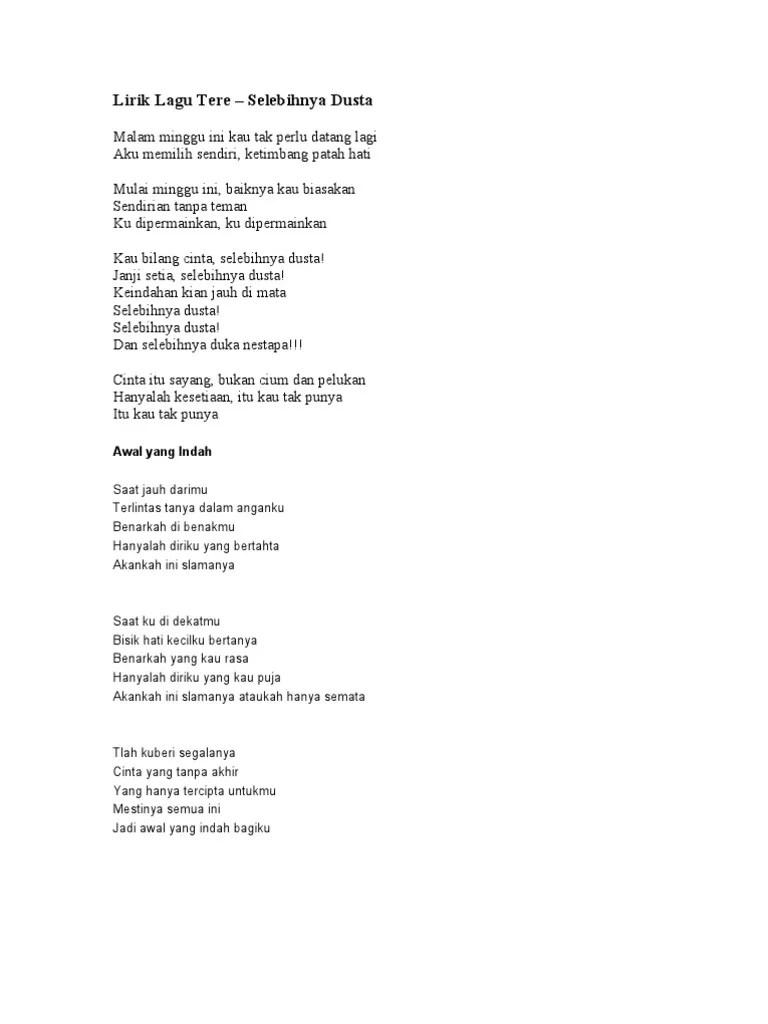Tere Awal Yang Indah Chord : indah, chord, Lirik