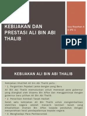 Prestasi Ali Bin Abi Thalib : prestasi, thalib, Kebijakan, Prestasi, Thalib