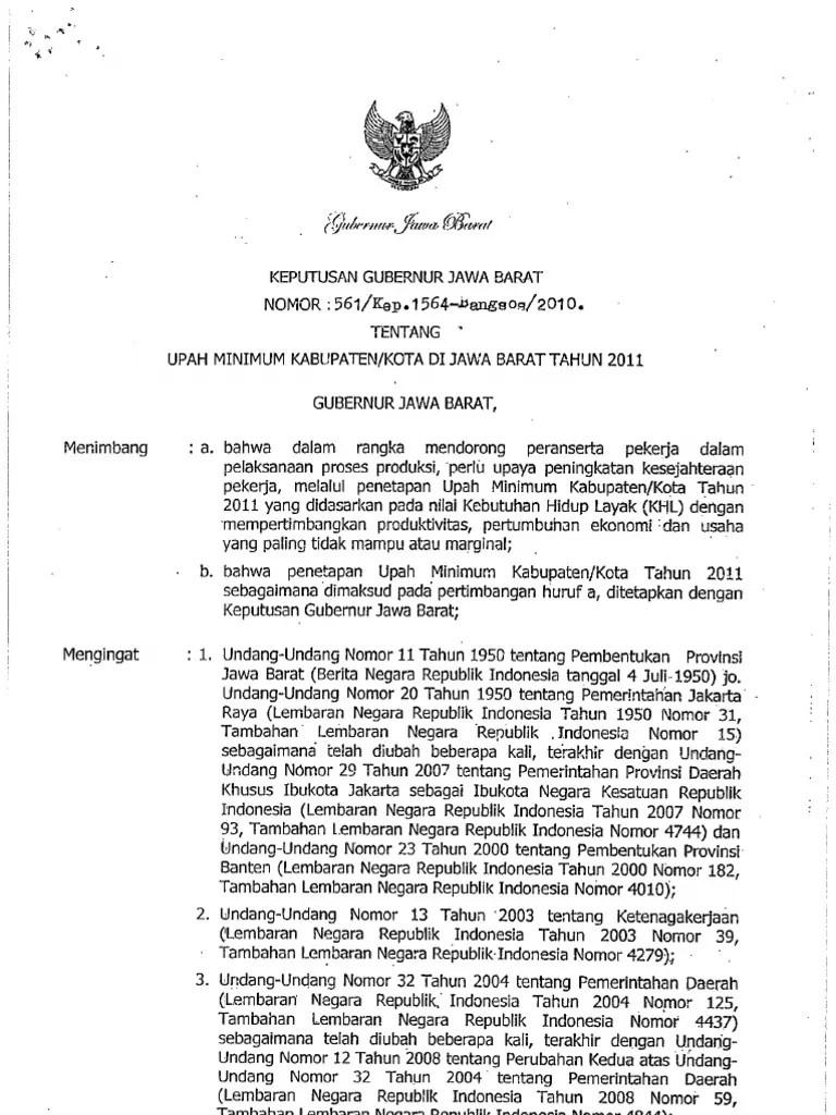 Sk Gubernur Jawa Barat Umk 2019 Pdf : gubernur, barat, Keputusan, Gubernur, Barat, No.561Kep.1564-Bangsos2010, Tentang, Minimum, KabupatenKota, Tahun