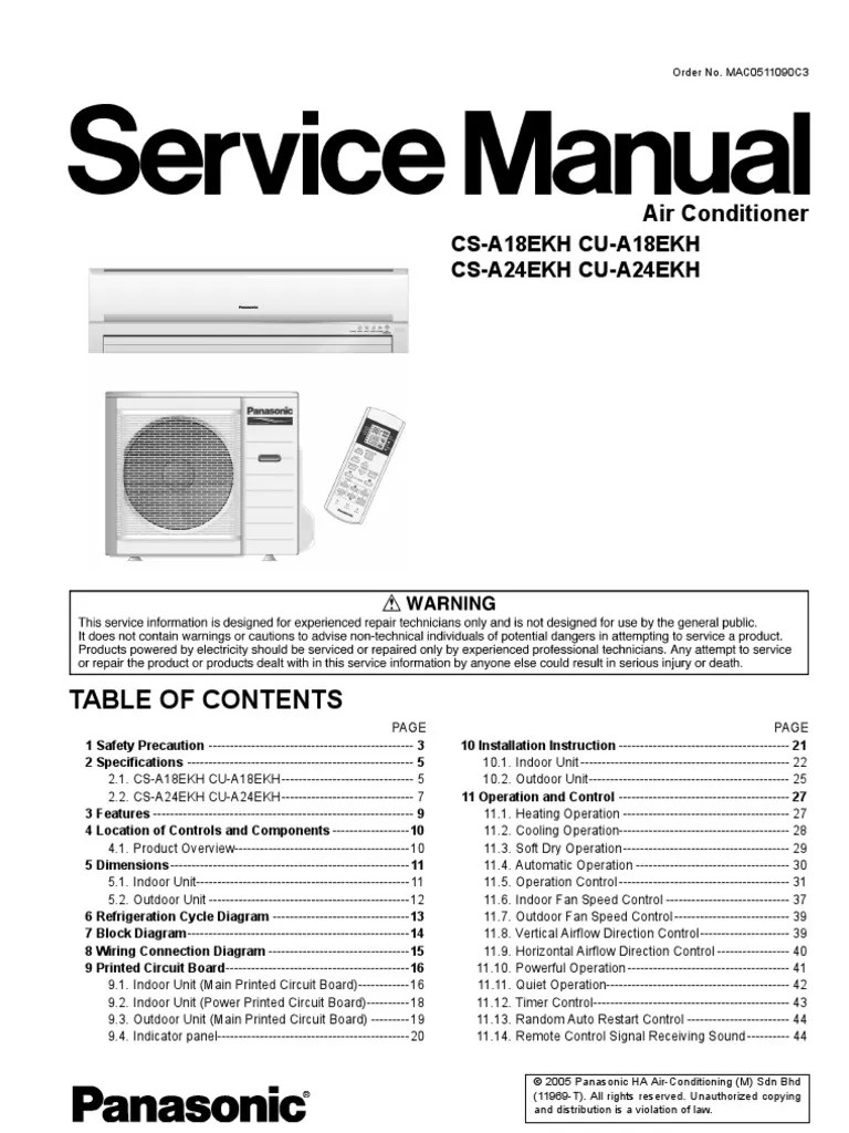 small resolution of panasonic cs a18ekh a24ekh cu air conditioners service repair manual free conditioning hvac