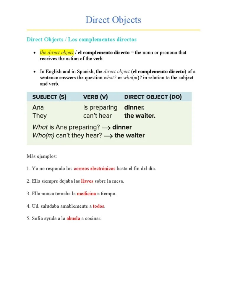 hight resolution of Direct Objects   Verb   Syntax