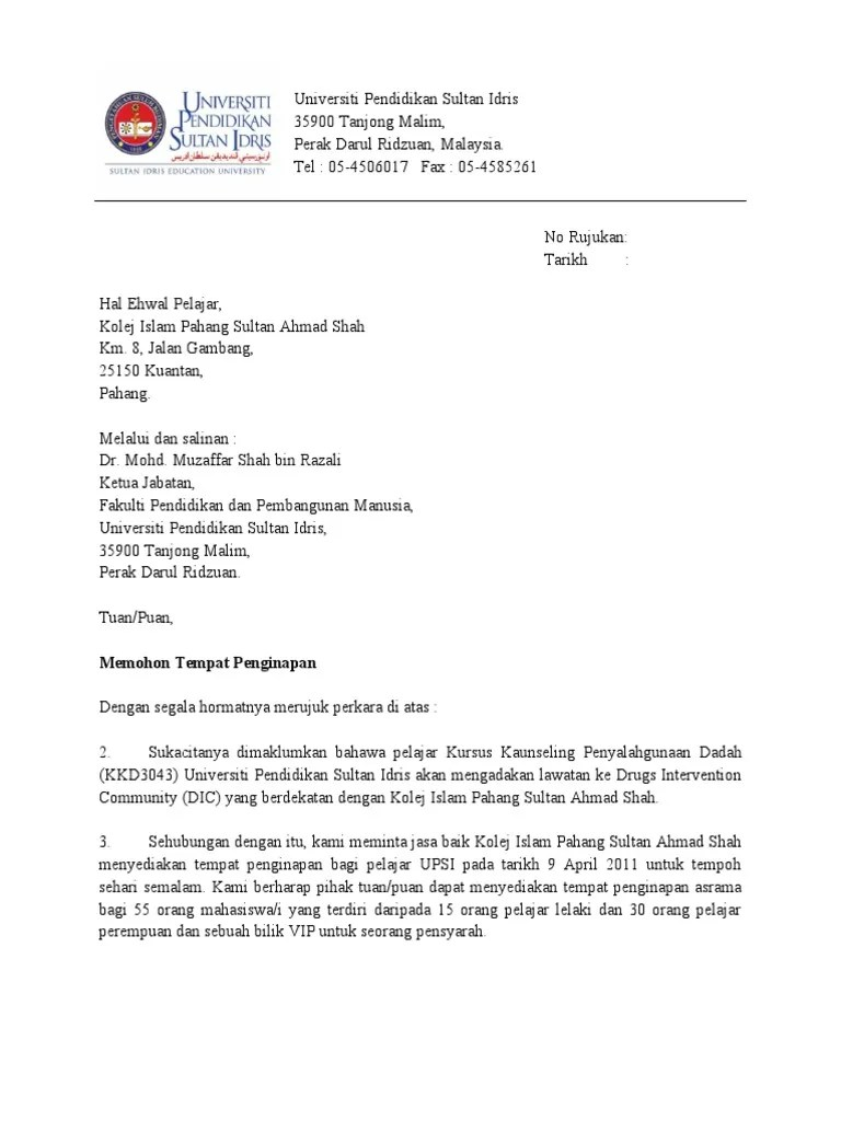 Surat Rasmi Permohonan Penginapan Rasmi Ru Cute766