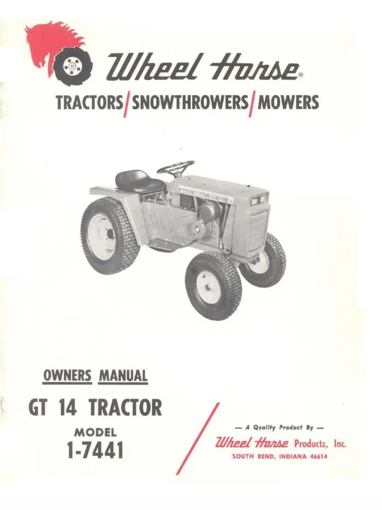 hight resolution of wheelhorse gt14 owners manual 1 7441 tractor transmission mechanics