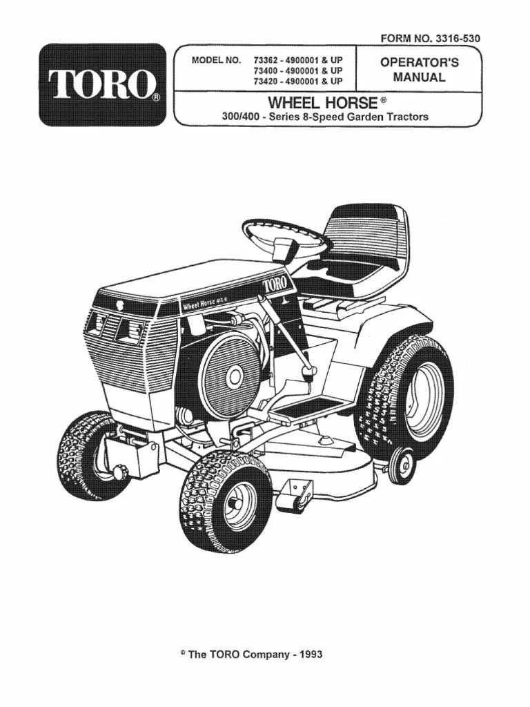 1993 wheelhorse 312 314 416 owners manual for models 73362 73400 73420 tractor motor oil [ 768 x 1024 Pixel ]