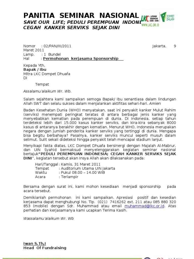 Surat Permohonan Sponsorship Doc : surat, permohonan, sponsorship, Surat, Penawaran, Sponsorship