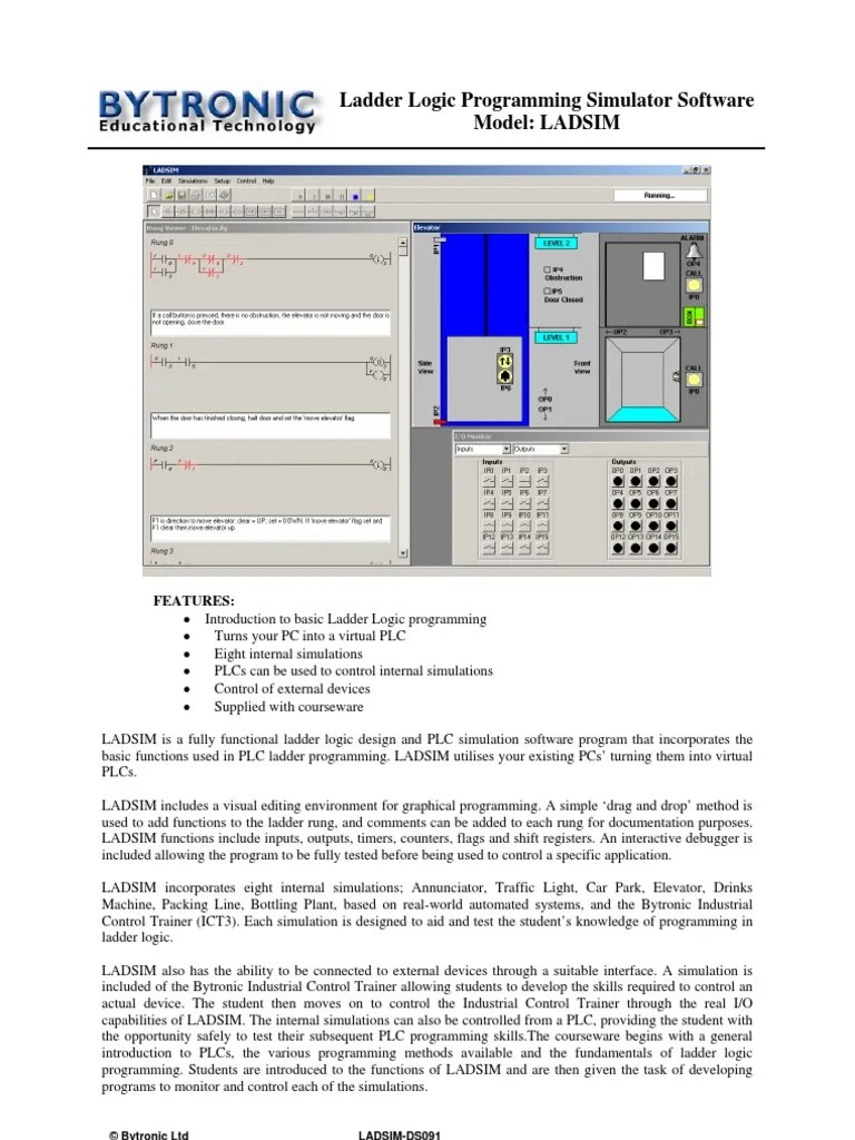 hight resolution of ladsim ds091 programmable logic controller simulation ladder logic
