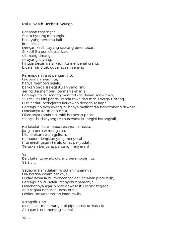 Puisi Kasih Sayang Orang Tua : puisi, kasih, sayang, orang, Puisi, Kasih, Berbau, Syurga