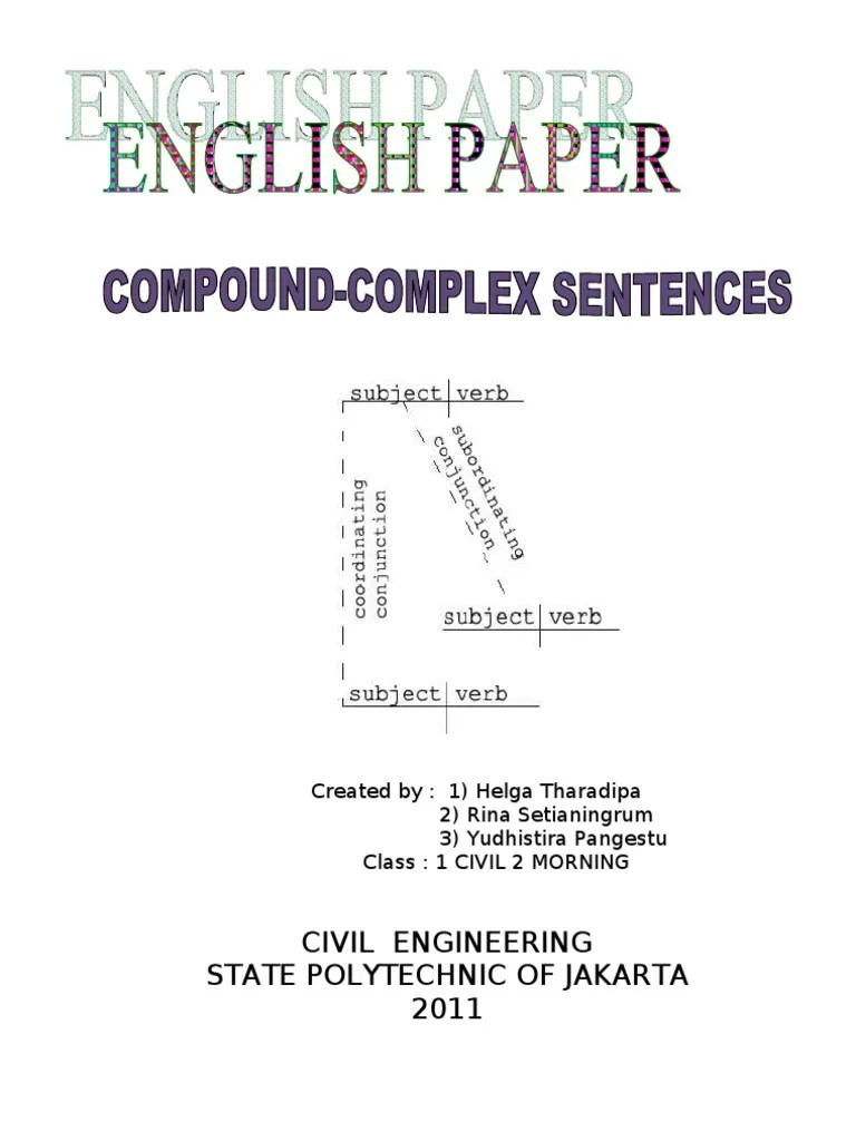 hight resolution of english paper compound complex sentence clause sentence linguistics