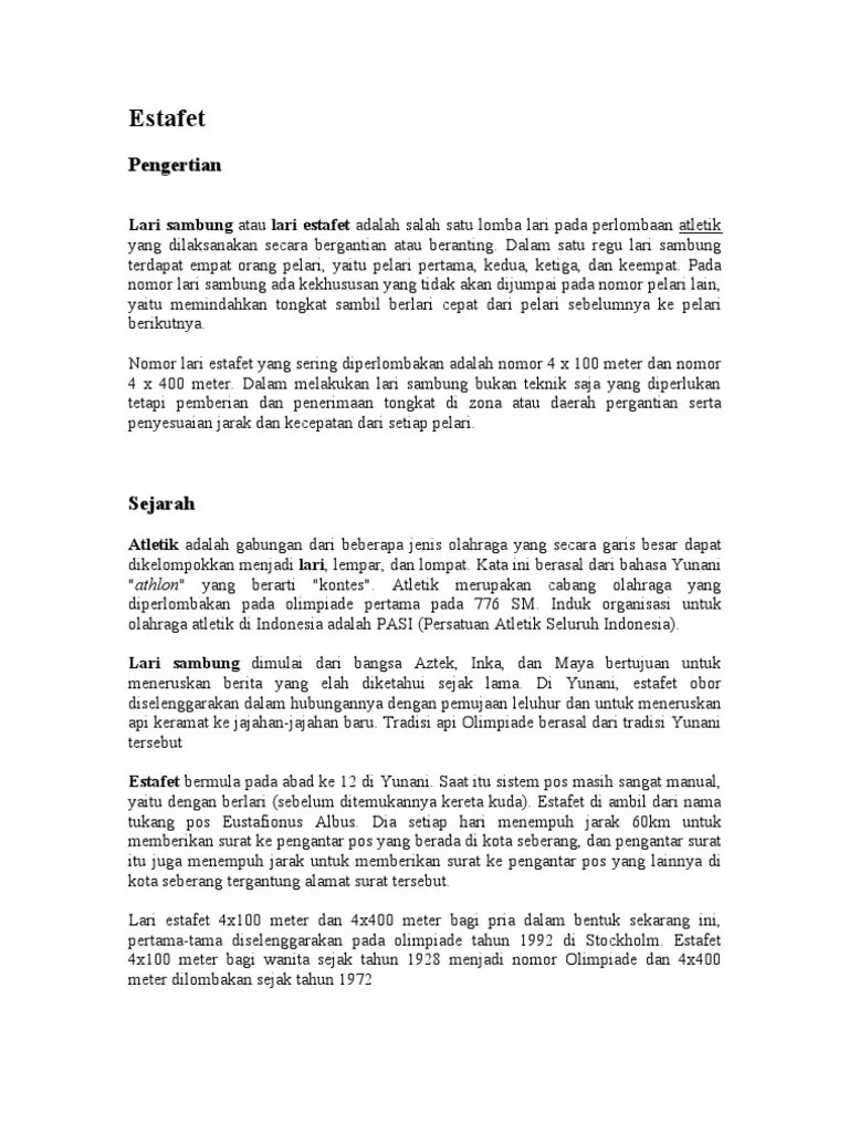 Teknik Penyerahan Tongkat Estafet : teknik, penyerahan, tongkat, estafet, Pengertian, Estafet