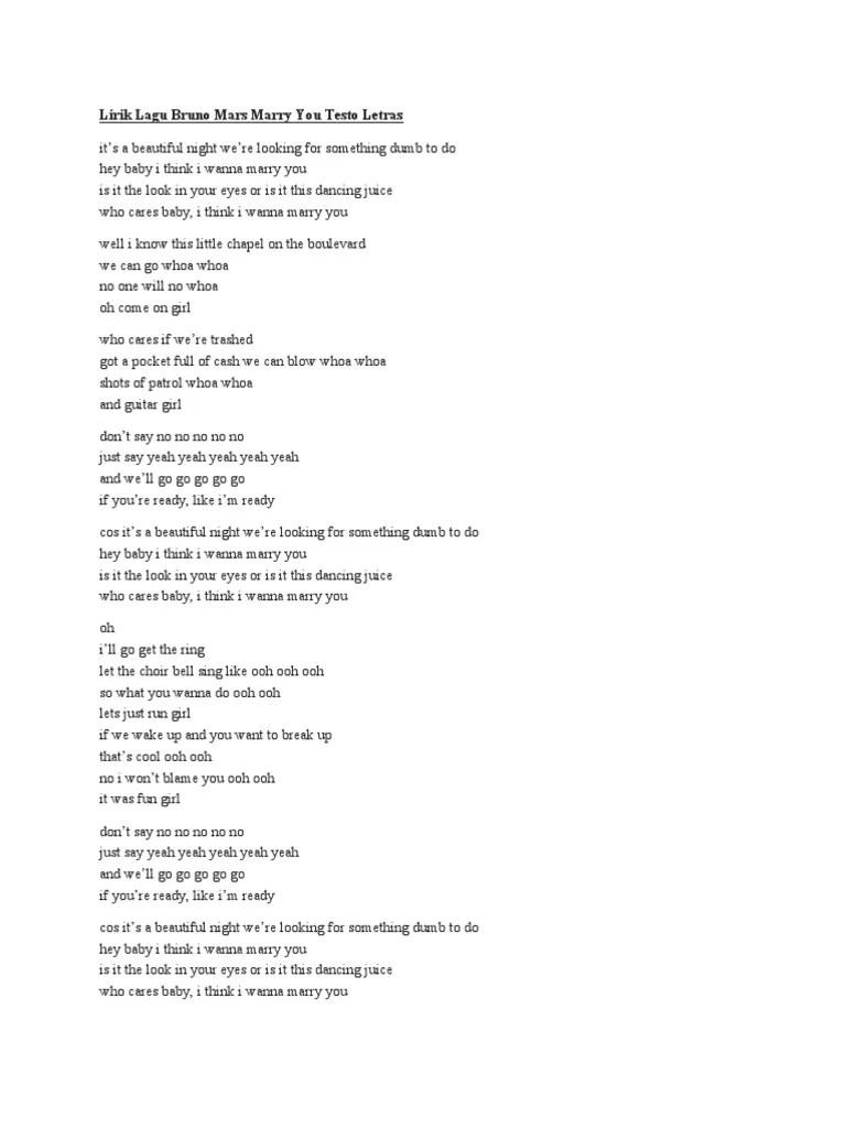 Lirik Lagu Mary You : lirik, Lirik, Bruno, Marry, Testo, Letras