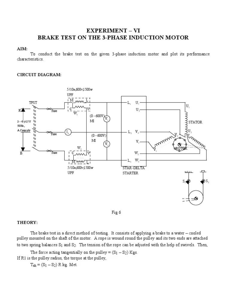 medium resolution of brake test on the 3 phase induction motor electric motor power physics