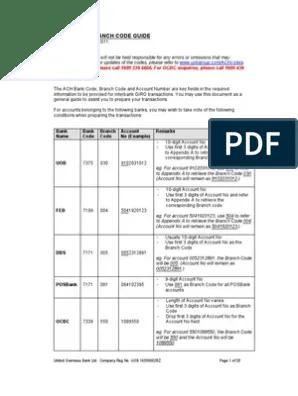 Dbs Bank Branch Code 032 : branch, Guide, International, Business, Singapore