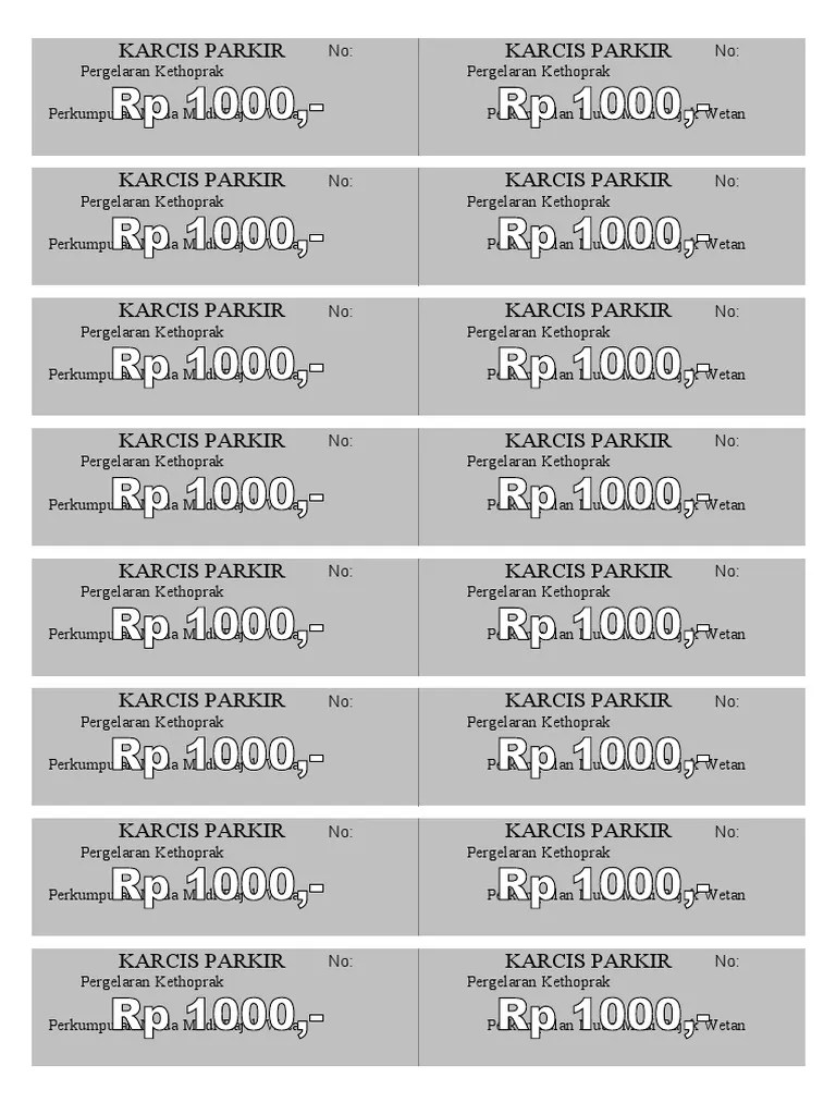 Download Karcis Parkir Word : download, karcis, parkir, KARCIS, PARKIR