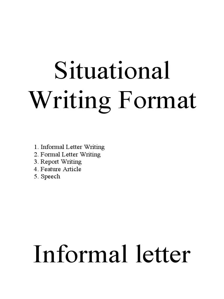 Situational Writing Format