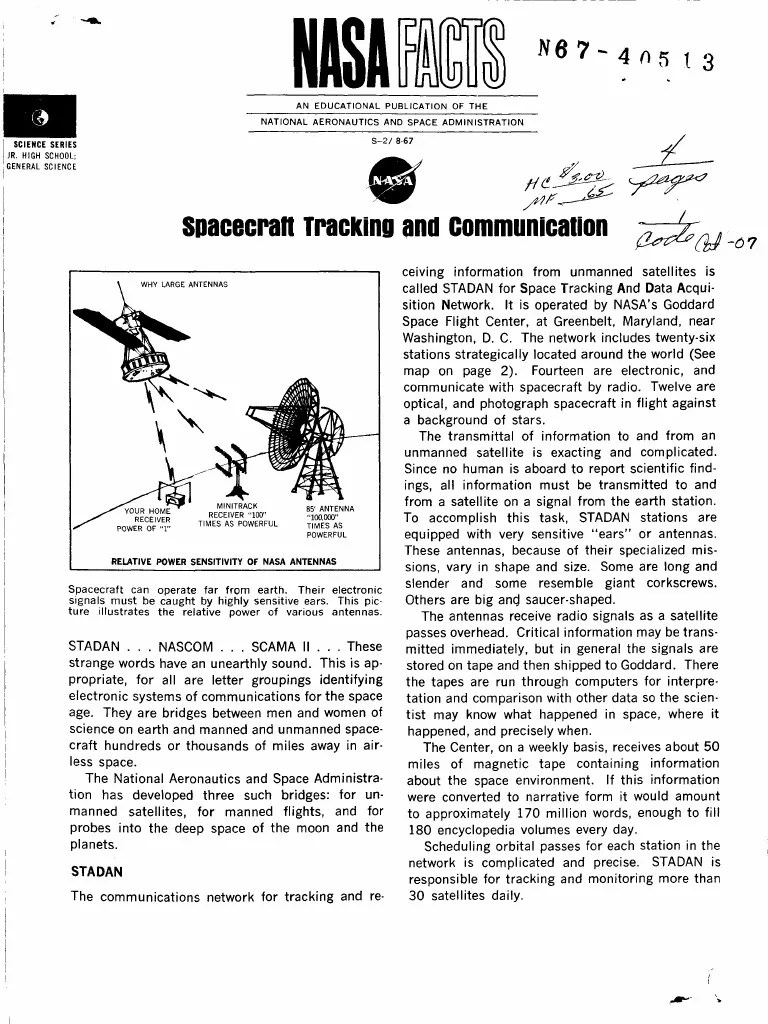 NASA Facts Spacecraft Tracking and Communication