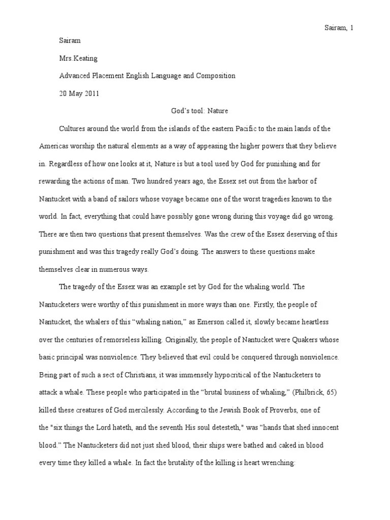 Research Paper On In The Heart Of The Sea Seven Deadly Sins Hell