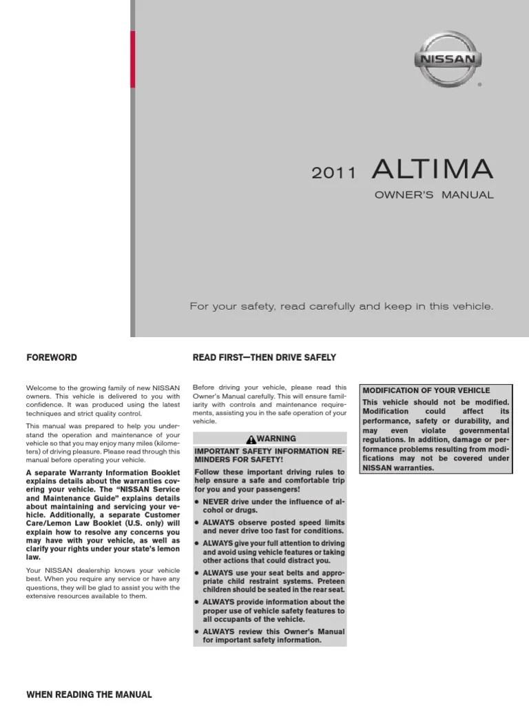 medium resolution of 2011 nissan altima owner manual