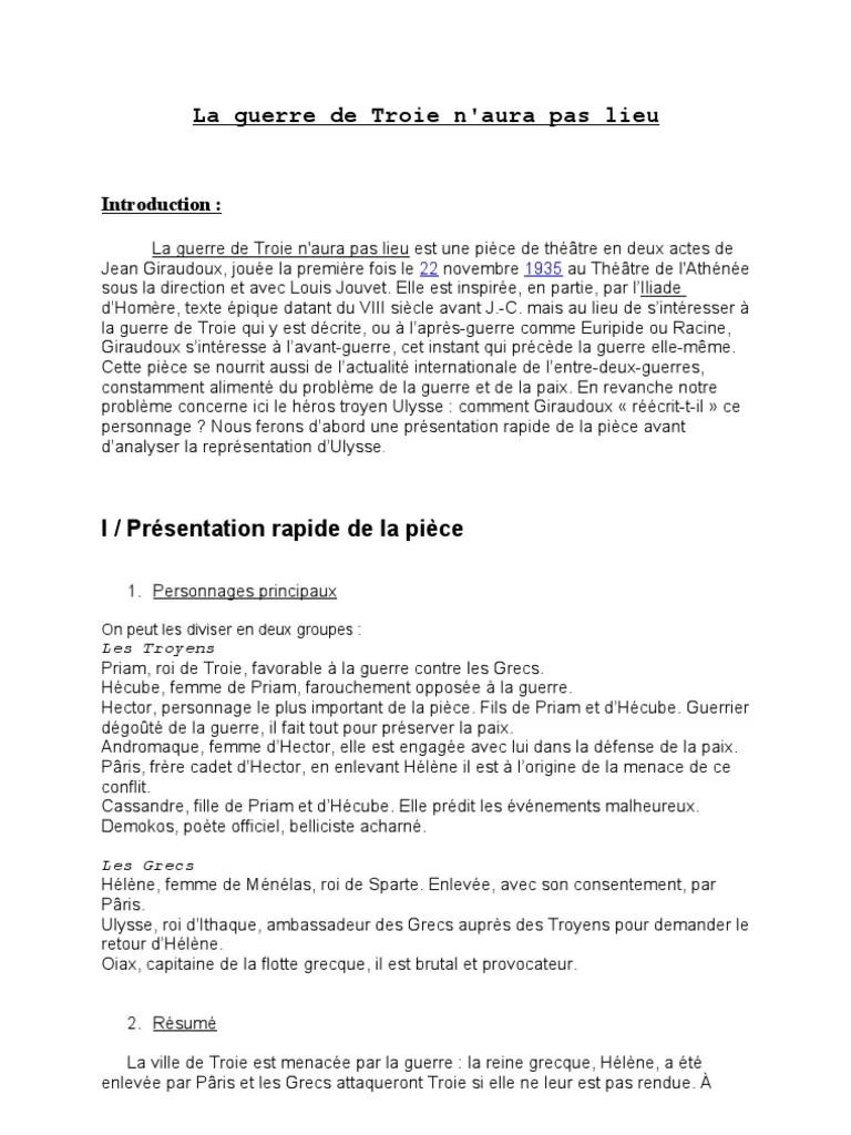 La Guerre De Troie N Aura Pas Lieu Analyse : guerre, troie, analyse, Guerre, Troie, N'aura, Lieu,, Giraudoux, Personnage, D'Ulysse), Littérature
