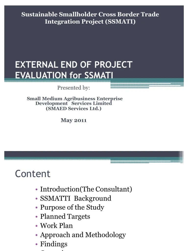 External End Of Project Evaluation For.pptx-May 2011- Draft | Agriculture |  Evaluation
