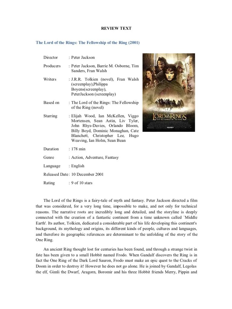 Contoh Review Text Film : contoh, review, Contoh, Review, Text:, Rings, Tolkien