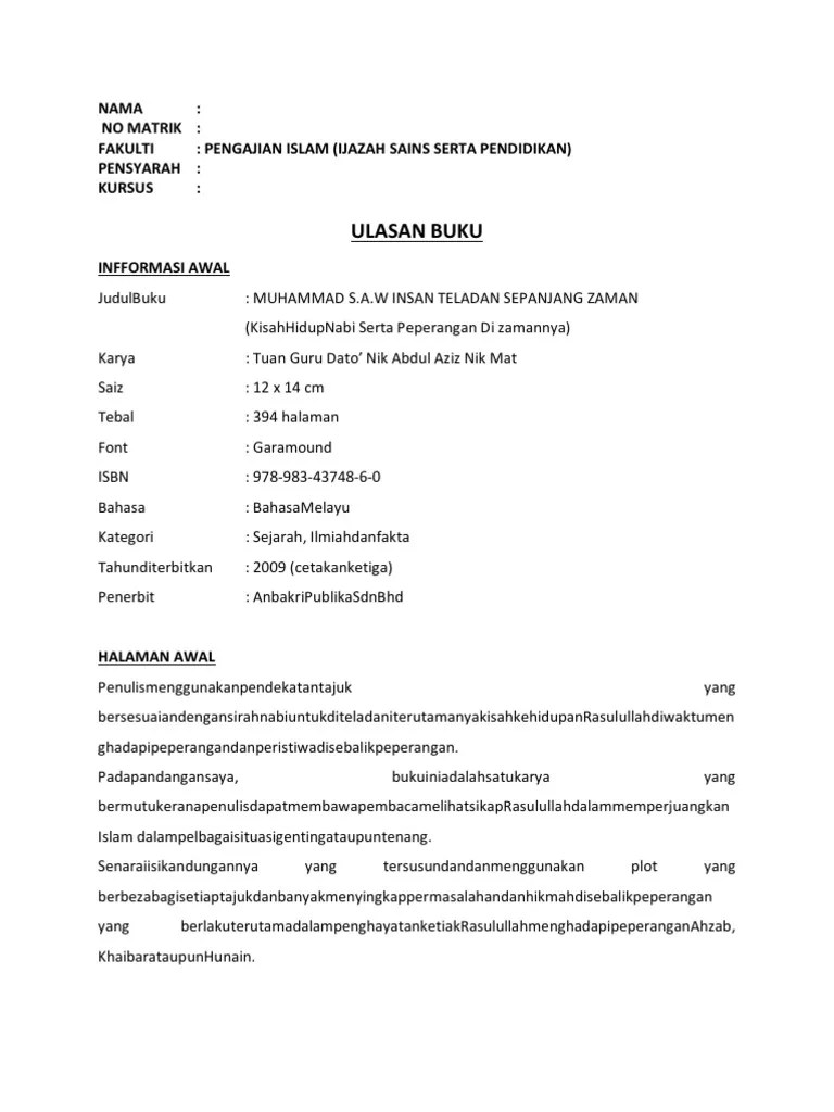 Contoh Book Report : contoh, report, Contoh, Ulasan, (Book, Review)