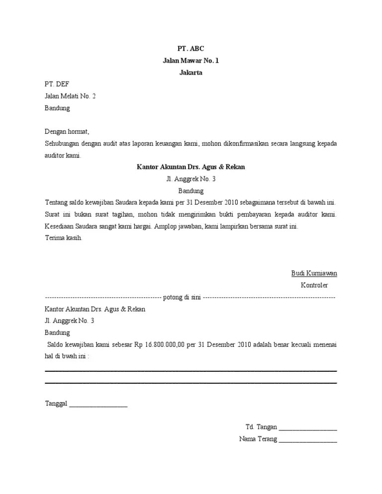 Contoh Surat Konfirmasi Positif