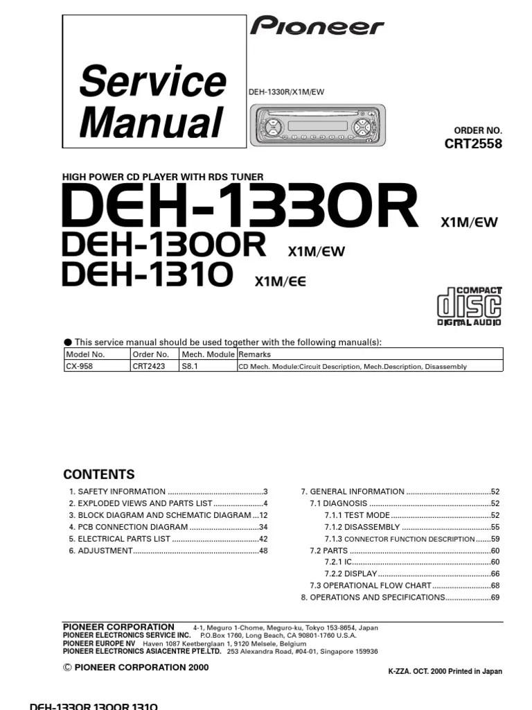medium resolution of pioneer deh 1330r deh 1300r deh 1310 service manual electrical connector resistor