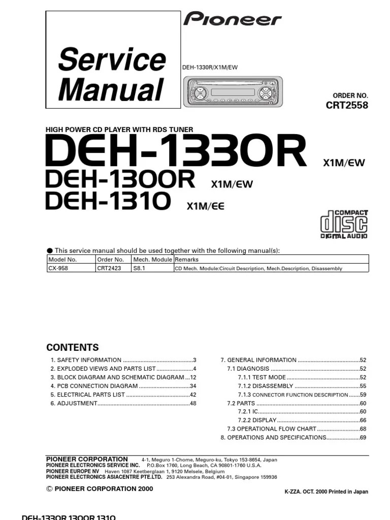 hight resolution of pioneer deh 1330r deh 1300r deh 1310 service manual electrical connector resistor