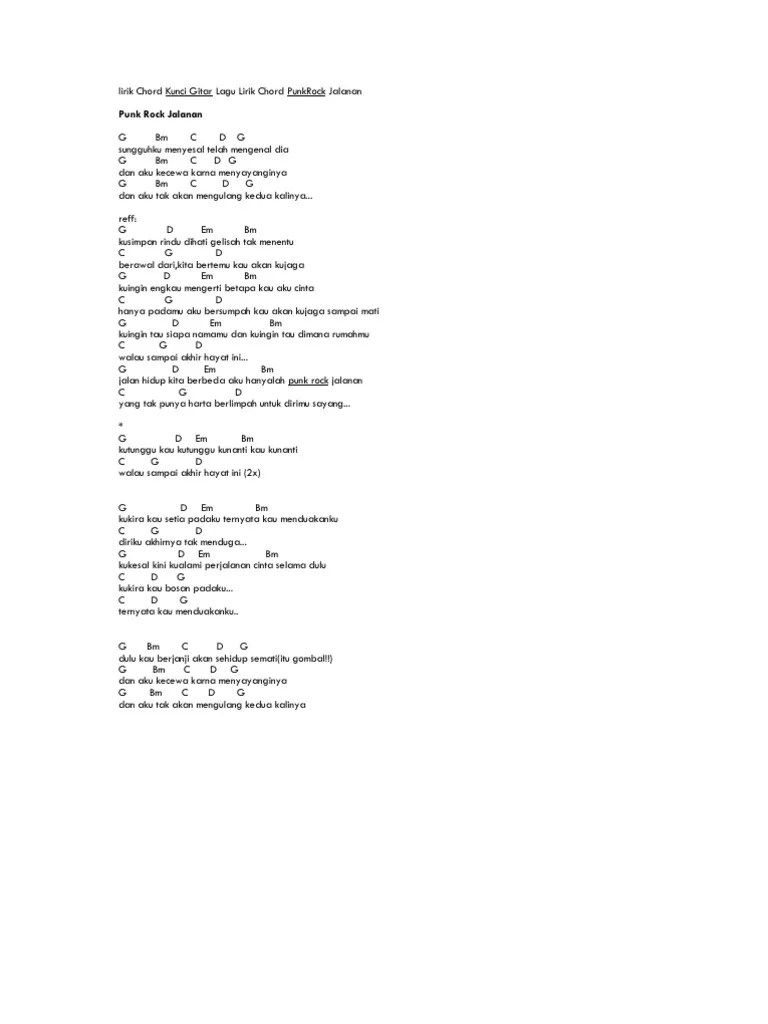 Chord Gitar Punk Rock Jalanan : chord, gitar, jalanan, Lirik