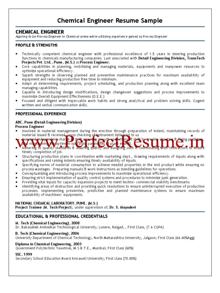 Chemical Engineer Resume Example Examples Of Resumes
