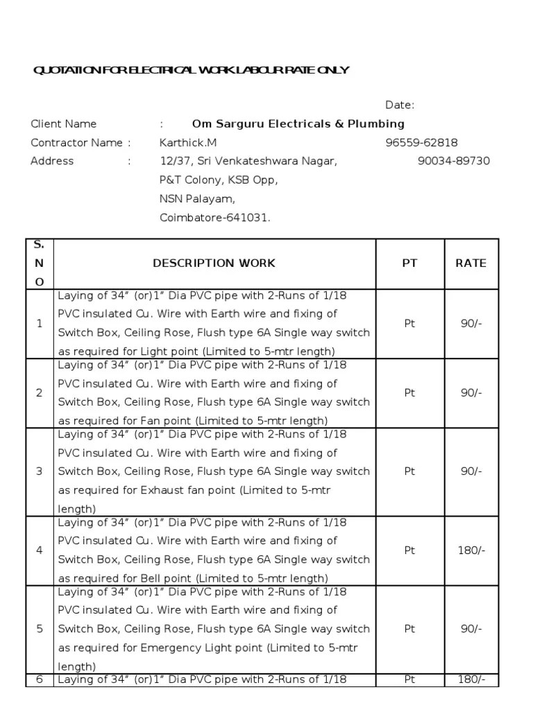 small resolution of quotation for electrical work labour rate only electrical wiring sample house wiring material list pdf
