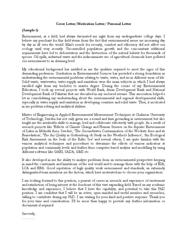 Samples of Cover Letter Motivation Letter Personal Motivation Letter PDF May 2 2008701 Pm